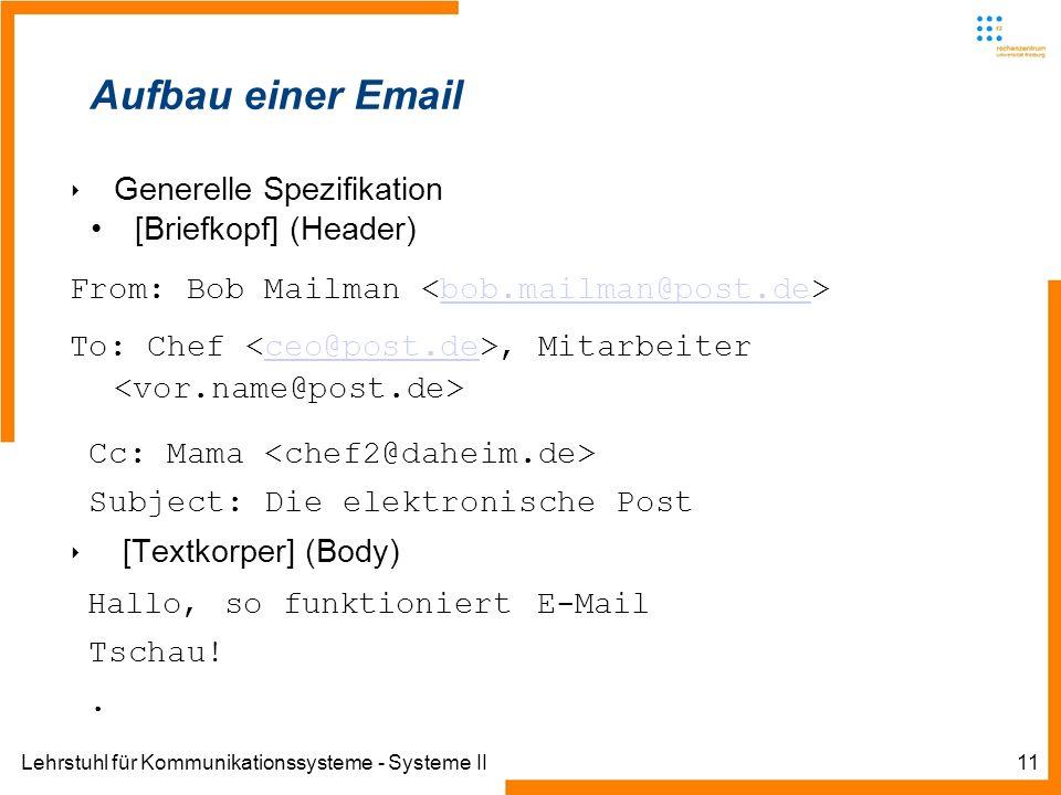 Aufbau einer Email Generelle Spezifikation [Briefkopf] (Header)